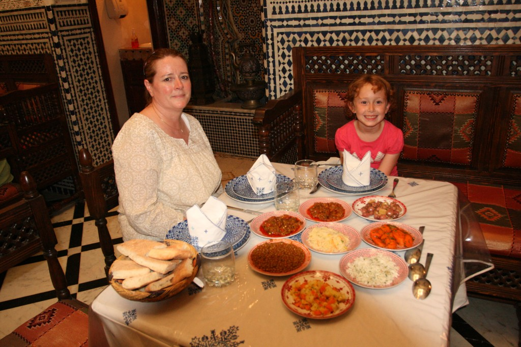 Kim and Sydney at Restaurant Ennajjarine in Fez, Morocco