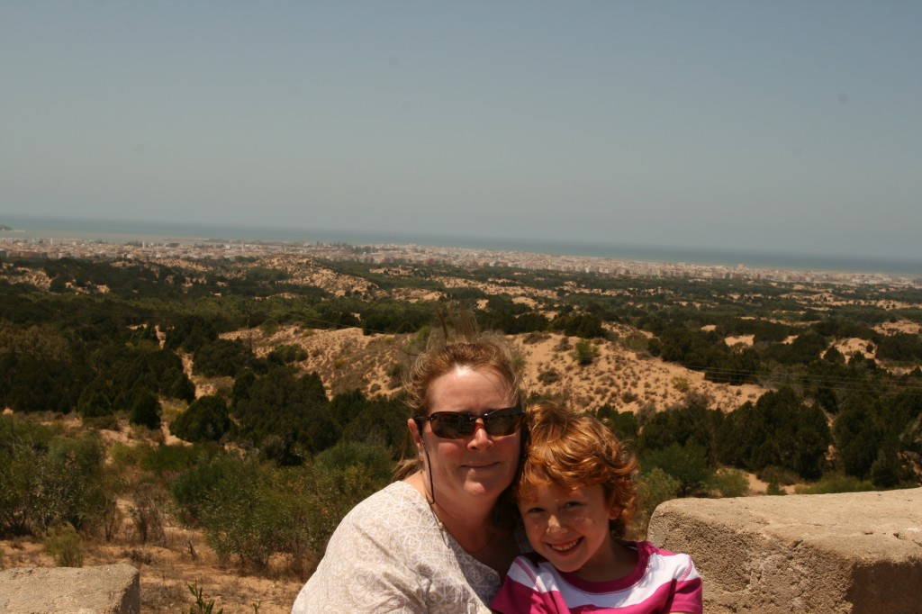 Kim and Sydney with Essaouira Morocco in the background.