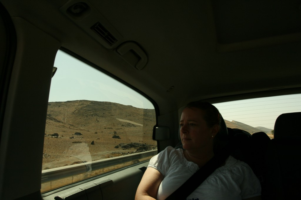 Kim on the road between Marrakech and Casablanca