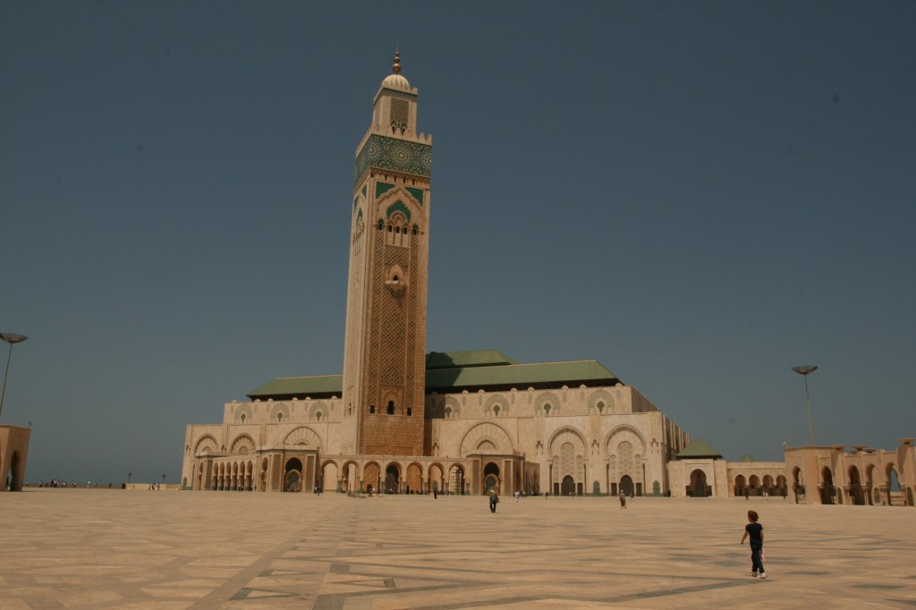 Sydney at the Hassan II Mosque in Casablanca